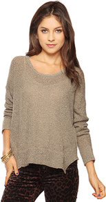 Oversize Loop Knit Sweater - neckline: round neck; sleeve style: dolman/batwing; pattern: plain; style: standard; predominant colour: taupe; occasions: casual; length: standard; fibres: acrylic - 100%; fit: loose; sleeve length: long sleeve; texture group: knits/crochet; pattern type: knitted - other; pattern size: standard