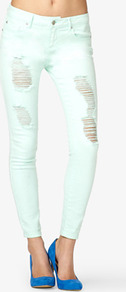 Destroyed Skinny Jeans - style: skinny leg; pattern: plain; pocket detail: traditional 5 pocket; waist: mid/regular rise; predominant colour: pistachio; occasions: casual, evening; length: ankle length; fibres: cotton - mix; texture group: denim; pattern type: fabric; pattern size: standard