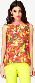 Watercolor Peter Pan Collar Top - sleeve style: sleeveless; length: below the bottom; style: blouse; occasions: casual, work, holiday; fibres: polyester/polyamide - 100%; fit: loose; neckline: no opening/shirt collar/peter pan; back detail: longer hem at back than at front; predominant colour: multicoloured; sleeve length: sleeveless; texture group: sheer fabrics/chiffon/organza etc.; trends: statement prints; pattern type: fabric; pattern size: big &amp; busy; pattern: patterned/print