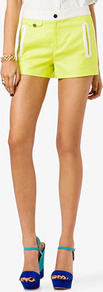 Contrast Trim Linen Blend Shorts - pattern: plain; style: shorts; pocket detail: small back pockets, pockets at the sides; waist detail: wide waistband/cummerbund; length: short shorts; waist: mid/regular rise; predominant colour: yellow; occasions: casual, evening, holiday; fibres: linen - mix; hip detail: fitted at hip (bottoms); texture group: linen; trends: fluorescent; fit: straight leg; pattern type: fabric; pattern size: standard