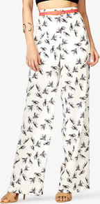Bird Print Wide Leg Pants - length: standard; style: palazzo; waist: high rise; waist detail: belted waist/tie at waist/drawstring; predominant colour: ivory; occasions: casual, work, holiday; fibres: polyester/polyamide - 100%; hip detail: added detail/embellishment at hip; fit: wide leg; pattern type: fabric; pattern size: small & busy; pattern: patterned/print; texture group: other - light to midweight