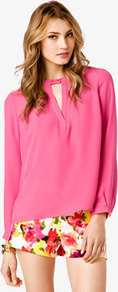 V Cutout Georgette Top - neckline: round neck; pattern: plain; style: blouse; predominant colour: pink; occasions: casual, evening, work, holiday; length: standard; fibres: polyester/polyamide - 100%; fit: loose; sleeve length: long sleeve; sleeve style: standard; texture group: crepes; pattern type: fabric; pattern size: standard