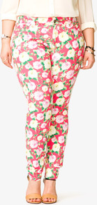 Rose Print Skinny Jeans - style: skinny leg; length: standard; pocket detail: traditional 5 pocket; waist: mid/regular rise; predominant colour: pink; occasions: casual, evening, holiday; fibres: cotton - stretch; texture group: denim; trends: high impact florals; pattern type: fabric; pattern size: standard; pattern: florals