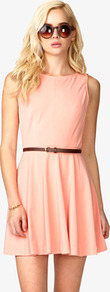 Paneled A Line Dress W/ Skinny Belt - length: mini; neckline: round neck; pattern: plain; sleeve style: sleeveless; back detail: low cut/open back; waist detail: belted waist/tie at waist/drawstring; predominant colour: coral; occasions: evening, holiday; fit: fitted at waist &amp; bust; style: fit &amp; flare; fibres: polyester/polyamide - 100%; hip detail: soft pleats at hip/draping at hip/flared at hip; sleeve length: sleeveless; pattern type: fabric; pattern size: standard; texture group: other - light to midweight