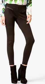 Zippered Ponte Leggings - pattern: plain; style: leggings; waist: mid/regular rise; predominant colour: black; occasions: casual; length: ankle length; fibres: polyester/polyamide - stretch; fit: skinny/tight leg; pattern type: fabric; pattern size: standard; texture group: jersey - stretchy/drapey