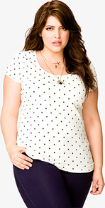 Polka Dot Tee - style: t-shirt; pattern: polka dot; predominant colour: white; occasions: casual; length: standard; neckline: scoop; fibres: cotton - stretch; fit: body skimming; sleeve length: short sleeve; sleeve style: standard; pattern type: fabric; pattern size: small & busy; texture group: jersey - stretchy/drapey