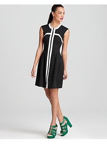 Dress Rocking Out - style: shift; pattern: plain; sleeve style: sleeveless; waist detail: fitted waist; shoulder detail: contrast pattern/fabric at shoulder; back detail: contrast pattern/fabric at back; occasions: evening, work, occasion; length: just above the knee; fit: fitted at waist & bust; fibres: cotton - 100%; neckline: crew; hip detail: sculpting darts/pleats/seams at hip; bust detail: contrast pattern/fabric/detail at bust; sleeve length: sleeveless; texture group: cotton feel fabrics; predominant colour: monochrome; trends: modern geometrics; pattern type: fabric; pattern size: big & light