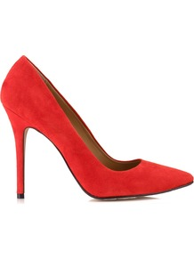 French 75 Stiletto - predominant colour: true red; occasions: evening, work, occasion; material: suede; heel height: high; heel: stiletto; toe: pointed toe; style: courts; finish: plain; pattern: plain