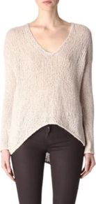 Knitted Jumper - neckline: low v-neck; pattern: plain; style: standard; predominant colour: ivory; occasions: casual; length: standard; fibres: cotton - mix; fit: loose; back detail: longer hem at back than at front; sleeve length: long sleeve; sleeve style: standard; texture group: knits/crochet; pattern type: knitted - other; pattern size: standard