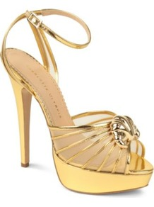 Croissant Metallic Sandals - predominant colour: gold; occasions: evening, occasion; material: leather; heel height: high; ankle detail: ankle strap; heel: platform; toe: open toe/peeptoe; style: strappy; trends: metallics; finish: metallic; pattern: plain