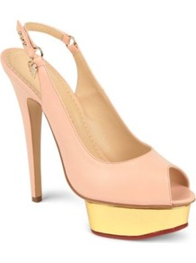 Bon Bon Leather Sandals - predominant colour: nude; occasions: evening, occasion; material: leather; heel height: high; heel: platform; toe: open toe/peeptoe; style: slingbacks; finish: plain; pattern: plain