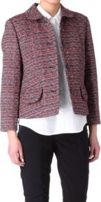 Miranda Tweed Jacket - style: boxy; pattern: herringbone/tweed; predominant colour: burgundy; occasions: casual, evening, work; length: standard; fit: straight cut (boxy); fibres: wool - mix; collar: shirt collar/peter pan/zip with opening; sleeve length: 3/4 length; sleeve style: standard; collar break: high; pattern type: fabric; pattern size: small &amp; light; texture group: tweed - light/midweight