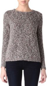 Zelphia Knitted Tweed Jumper - pattern: plain; style: standard; predominant colour: mid grey; occasions: casual, work; length: standard; fibres: cotton - mix; fit: standard fit; neckline: crew; shoulder detail: added shoulder detail; sleeve length: long sleeve; sleeve style: standard; texture group: knits/crochet; pattern type: knitted - other; pattern size: standard