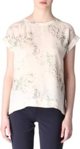 Silk Cherry Top - predominant colour: ivory; occasions: casual, evening, work; length: standard; style: top; fibres: silk - 100%; fit: body skimming; neckline: crew; sleeve length: short sleeve; sleeve style: standard; texture group: silky - light; pattern type: fabric; pattern size: small & busy; pattern: florals