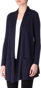 Cashmere Blend Cardigan - pattern: plain; length: below the bottom; neckline: collarless open; style: open front; predominant colour: navy; occasions: casual, work; fibres: cotton - mix; fit: loose; hip detail: dip hem; back detail: shorter hem at back than at front; sleeve length: long sleeve; sleeve style: standard; texture group: knits/crochet; pattern type: knitted - fine stitch