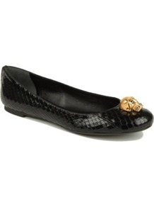 Rattle Python Print Pumps - predominant colour: black; occasions: casual, work; material: leather; heel height: flat; toe: round toe; style: ballerinas / pumps; finish: patent; pattern: animal print