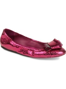 Surrey Python Print Pumps - predominant colour: hot pink; occasions: casual, evening, work; material: leather; heel height: flat; toe: round toe; style: ballerinas / pumps; trends: metallics; finish: metallic; pattern: animal print; embellishment: bow