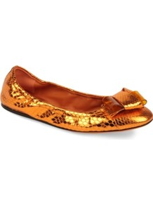 Surrey Python Print Pumps - predominant colour: gold; occasions: casual, evening, work; material: leather; heel height: flat; toe: round toe; style: ballerinas / pumps; trends: metallics; finish: metallic; pattern: animal print; embellishment: bow
