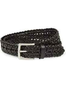 Equinox Belt - predominant colour: black; occasions: casual, evening, work; type of pattern: standard; style: plaited/woven; size: standard; worn on: hips; material: leather; pattern: plain; finish: plain