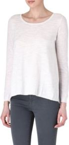 Supreme Contrast Jumper - neckline: round neck; pattern: plain; style: standard; predominant colour: ivory; occasions: casual, work, holiday; length: standard; fibres: cotton - mix; fit: slim fit; back detail: longer hem at back than at front; sleeve length: long sleeve; sleeve style: standard; texture group: knits/crochet; pattern type: knitted - fine stitch; pattern size: standard