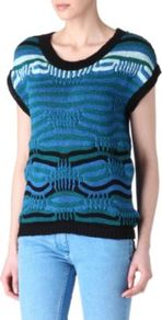 Souffle Jumper - neckline: round neck; style: standard; predominant colour: teal; occasions: casual, work; length: standard; fibres: polyester/polyamide - mix; fit: standard fit; sleeve length: short sleeve; sleeve style: standard; texture group: knits/crochet; pattern type: fabric; pattern size: standard; pattern: patterned/print