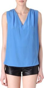 Entrelacer Laced Back Top - neckline: v-neck; pattern: plain; sleeve style: sleeveless; back detail: low cut/open back; predominant colour: diva blue; occasions: casual, evening, work; length: standard; style: top; fibres: silk - 100%; fit: body skimming; shoulder detail: flat/draping pleats/ruching/gathering at shoulder; sleeve length: sleeveless; texture group: silky - light; pattern type: fabric