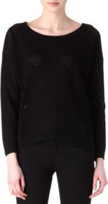 S R Nade Textured Jumper - neckline: round neck; pattern: plain; bust detail: sheer at bust; style: standard; predominant colour: black; occasions: casual, evening, work; length: standard; fibres: cotton - 100%; fit: loose; sleeve length: long sleeve; sleeve style: standard; texture group: knits/crochet; pattern type: knitted - big stitch; pattern size: standard
