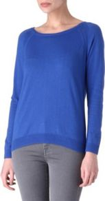 Suzie Ribbon Detail Jumper - neckline: round neck; pattern: plain; style: standard; back detail: contrast pattern/fabric at back; predominant colour: royal blue; occasions: casual, evening, work, holiday; length: standard; fibres: silk - mix; fit: standard fit; shoulder detail: added shoulder detail; sleeve length: long sleeve; sleeve style: standard; texture group: knits/crochet; pattern type: knitted - fine stitch; pattern size: standard