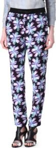 Prestige Printed Trousers - length: standard; style: peg leg; pocket detail: pockets at the sides; waist detail: belted waist/tie at waist/drawstring; waist: mid/regular rise; occasions: casual, evening, work, holiday; fibres: polyester/polyamide - 100%; hip detail: fitted at hip (bottoms); predominant colour: multicoloured; texture group: crepes; trends: high impact florals; fit: tapered; pattern type: fabric; pattern size: big &amp; busy; pattern: florals