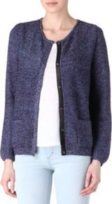 Gaelle Cardigan - neckline: round neck; pattern: plain; predominant colour: navy; occasions: casual, work; length: standard; style: standard; fibres: polyester/polyamide - mix; fit: standard fit; sleeve length: long sleeve; sleeve style: standard; texture group: knits/crochet; pattern type: knitted - fine stitch; pattern size: standard