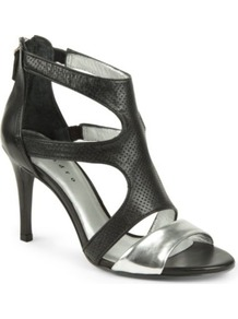 Appolinaire Shoes - predominant colour: black; occasions: evening, occasion; material: leather; heel height: high; ankle detail: ankle strap; heel: stiletto; toe: open toe/peeptoe; style: strappy; finish: plain; pattern: plain