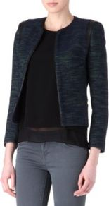 Valentin Tweed Leather Trim Jacket - style: single breasted blazer; collar: round collar/collarless; pattern: herringbone/tweed; predominant colour: black; occasions: casual, work; length: standard; fit: straight cut (boxy); fibres: cotton - mix; sleeve length: long sleeve; sleeve style: standard; collar break: high; pattern type: fabric; pattern size: standard; texture group: tweed - light/midweight