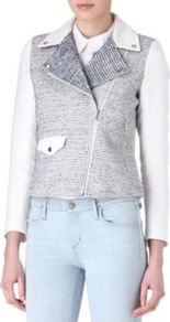 Vernis Tweed Biker Jacket - style: biker; collar: asymmetric biker; pattern: herringbone/tweed; predominant colour: mid grey; occasions: casual; length: standard; fit: tailored/fitted; fibres: cotton - mix; sleeve length: long sleeve; sleeve style: standard; collar break: medium; pattern type: fabric; pattern size: standard; texture group: woven light midweight