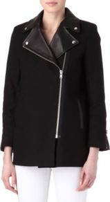 Mathilde Moto Coat - pattern: plain; length: below the bottom; collar: asymmetric biker; style: double breasted; predominant colour: black; occasions: casual; fit: straight cut (boxy); fibres: cotton - 100%; sleeve length: long sleeve; sleeve style: standard; collar break: high/illusion of break when open; pattern type: fabric; pattern size: standard; texture group: woven light midweight