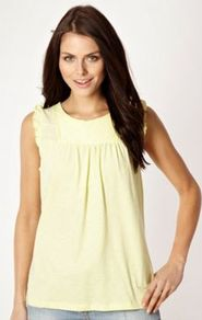 Designer Yellow Pintuck Pleated Heart Top - neckline: round neck; pattern: plain; sleeve style: sleeveless; shoulder detail: tiers/frills/ruffles; bust detail: ruching/gathering/draping/layers/pintuck pleats at bust; predominant colour: primrose yellow; occasions: casual, evening, work, holiday; length: standard; style: top; fibres: cotton - 100%; fit: body skimming; back detail: keyhole/peephole detail at back; sleeve length: sleeveless; texture group: cotton feel fabrics; pattern type: fabric; pattern size: small &amp; light