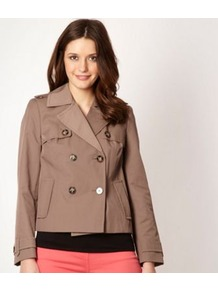Designer Beige Cropped Mac Jacket - pattern: plain; length: standard; style: double breasted; collar: standard lapel/rever collar; predominant colour: taupe; occasions: casual, work; fit: straight cut (boxy); fibres: polyester/polyamide - 100%; sleeve length: long sleeve; sleeve style: standard; texture group: cotton feel fabrics; collar break: medium; pattern type: fabric; pattern size: standard