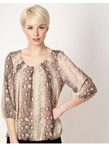 Designer Natural Snakeskin Patterned Top - sleeve style: balloon; bust detail: ruching/gathering/draping/layers/pintuck pleats at bust; predominant colour: stone; occasions: casual, evening, work; length: standard; style: top; neckline: scoop; fibres: polyester/polyamide - 100%; fit: loose; sleeve length: 3/4 length; pattern type: fabric; pattern size: standard; pattern: animal print; texture group: jersey - stretchy/drapey