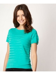 Designer Bright Green Short Sleeved Jumper - pattern: horizontal stripes; style: standard; predominant colour: emerald green; occasions: casual, evening, work; length: standard; fibres: acrylic - mix; fit: standard fit; neckline: crew; sleeve length: short sleeve; sleeve style: standard; texture group: knits/crochet; trends: fluorescent; pattern type: knitted - fine stitch; pattern size: standard
