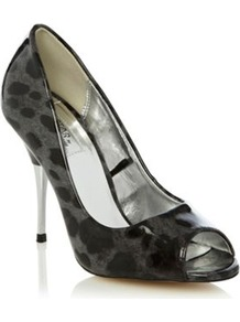 Grey Animal Printed Metal High Heeled Peep Toed Court Shoes - predominant colour: charcoal; occasions: evening, work, occasion; material: faux leather; heel height: high; heel: stiletto; toe: open toe/peeptoe; style: courts; finish: plain; pattern: animal print