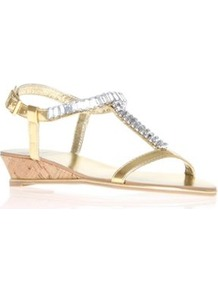 Kaya - predominant colour: gold; occasions: casual, evening, occasion, holiday; material: faux leather; heel height: flat; embellishment: crystals; ankle detail: ankle strap; heel: wedge; toe: open toe/peeptoe; style: strappy; trends: metallics; finish: metallic; pattern: plain