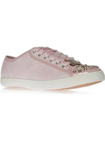 Jamie - predominant colour: blush; occasions: casual, holiday; material: faux leather; heel height: flat; embellishment: studs; toe: round toe; style: trainers; trends: sporty redux; finish: plain; pattern: animal print