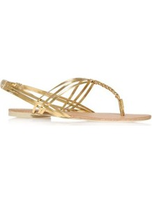 Persephone - predominant colour: gold; occasions: casual, evening, work, holiday; material: faux leather; heel height: flat; ankle detail: ankle strap; heel: standard; toe: toe thongs; style: flip flops / toe post; trends: metallics; finish: metallic; pattern: plain
