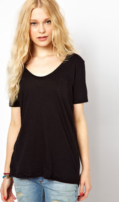 Marl Scoop T Shirt - pattern: plain; length: below the bottom; style: t-shirt; predominant colour: black; occasions: casual, work; neckline: scoop; fibres: cotton - 100%; fit: loose; sleeve length: short sleeve; sleeve style: standard; pattern type: fabric; pattern size: standard; texture group: jersey - stretchy/drapey