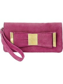 Leather Metal Plate Bow Purse - predominant colour: hot pink; occasions: evening, occasion; type of pattern: standard; style: clutch; length: hand carry; size: small; material: suede; pattern: plain; finish: plain; embellishment: bow