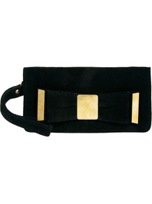 Leather Metal Plate Bow Purse - predominant colour: black; occasions: evening, occasion; type of pattern: standard; style: clutch; length: hand carry; size: small; material: suede; pattern: plain; finish: plain; embellishment: bow