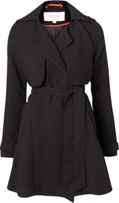 Svana Coat L / Black - pattern: plain; style: trench coat; length: on the knee; collar: standard lapel/rever collar; predominant colour: black; occasions: casual, evening, work; fit: tailored/fitted; fibres: polyester/polyamide - mix; waist detail: belted waist/tie at waist/drawstring; shoulder detail: discreet epaulette; back detail: back vent/flap at back; sleeve length: long sleeve; sleeve style: standard; collar break: medium; pattern type: fabric; pattern size: standard; texture group: woven light midweight