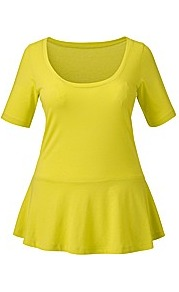 Peplum Jersey Top - pattern: plain; waist detail: peplum waist detail; predominant colour: lime; occasions: casual; length: standard; style: top; neckline: scoop; fibres: cotton - 100%; fit: body skimming; sleeve length: short sleeve; sleeve style: standard; pattern type: fabric; texture group: jersey - stretchy/drapey