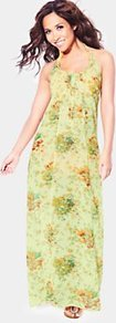 Floral Chiffon Beach Maxi Dress, Yellow - neckline: round neck; fit: empire; sleeve style: sleeveless; style: maxi dress; back detail: low cut/open back; bust detail: ruching/gathering/draping/layers/pintuck pleats at bust; predominant colour: primrose yellow; occasions: casual, evening, holiday; length: floor length; fibres: polyester/polyamide - 100%; hip detail: soft pleats at hip/draping at hip/flared at hip; sleeve length: sleeveless; texture group: sheer fabrics/chiffon/organza etc.; trends: high impact florals; pattern type: fabric; pattern size: small & busy; pattern: florals