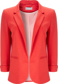 Orange Jacket - pattern: plain; style: single breasted blazer; collar: standard lapel/rever collar; predominant colour: coral; occasions: evening, work, occasion; length: standard; fit: tailored/fitted; fibres: polyester/polyamide - stretch; sleeve length: 3/4 length; sleeve style: standard; collar break: low/open; pattern type: fabric; texture group: jersey - stretchy/drapey