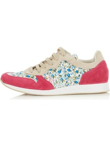 Tuscany Floral Print Runners - predominant colour: hot pink; occasions: casual; material: suede; heel height: flat; toe: round toe; style: trainers; finish: plain; pattern: florals